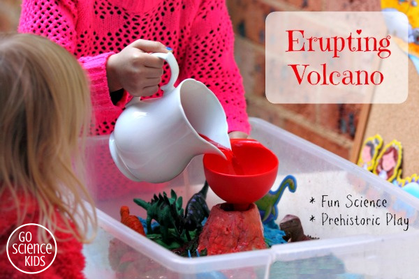 Erupting Volcano - fun science - prehistoric play