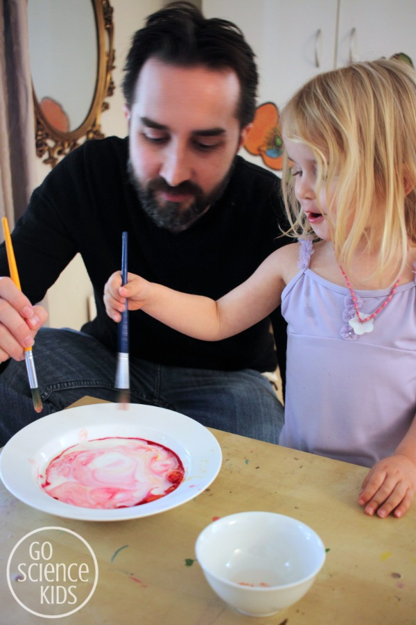 Making swirling milk with food colouring and dishsoap