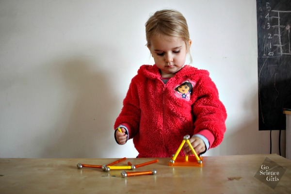 Almost 3 year old playing with Geomag colour toy