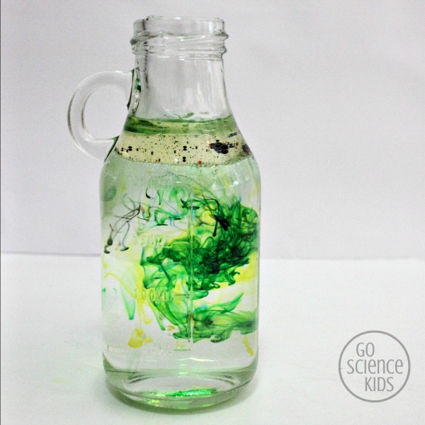 Green and yellow swirls - fireworks in a jar science project for kids