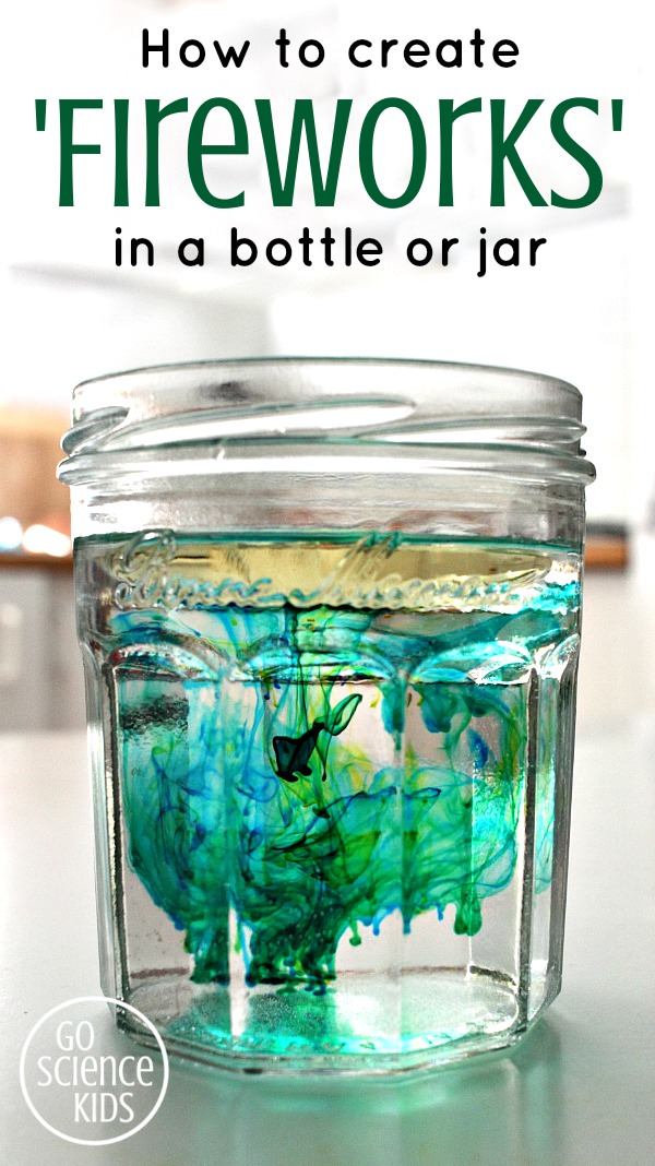 How to create fireworks in a bottle or jar - fun density science project for kids