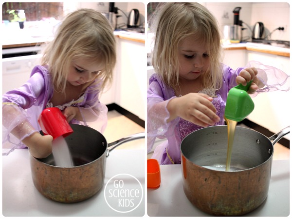 Preschooler adding ingredients to make violet crumble