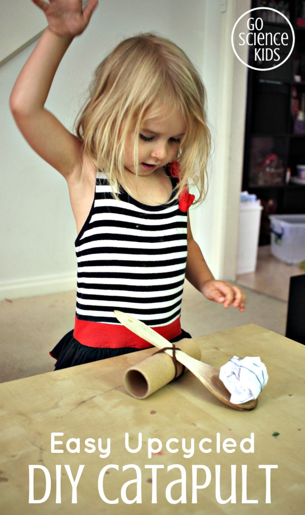 Easy Upcycled DIY Catapult - fun physics science play for kids