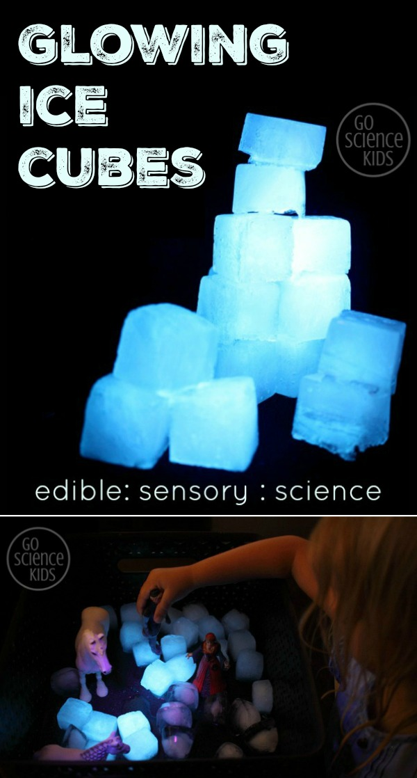 How to make glowing ice cubes - edible, sensory, science play for kids