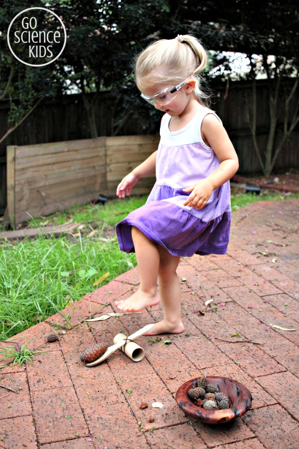 Launching a DIY Upcycled Catapult - physics fun for kids