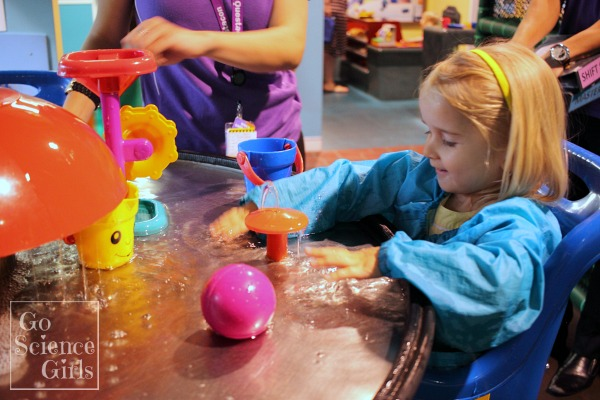 Sensory water play at Mini Q, Questacon