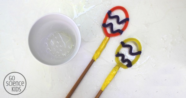 Playing with DIY Easter egg bubble wands
