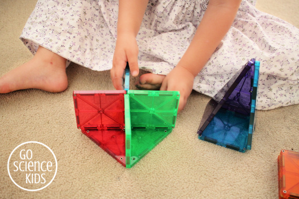 getting creative with magnetic tiles