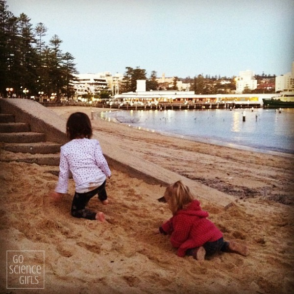 Playing at the beach next to Manly Sea Life Sanctuary Aquarium