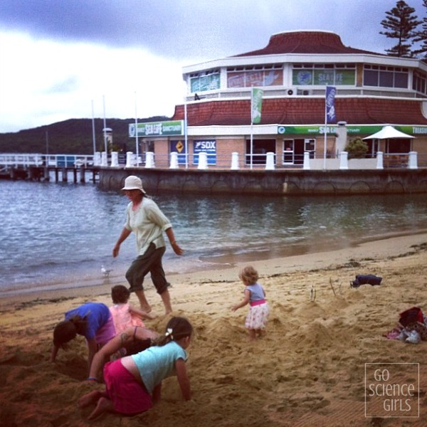 Playing in the sand outside Manly Aqcuarium Manly Sea Life Sanctuary