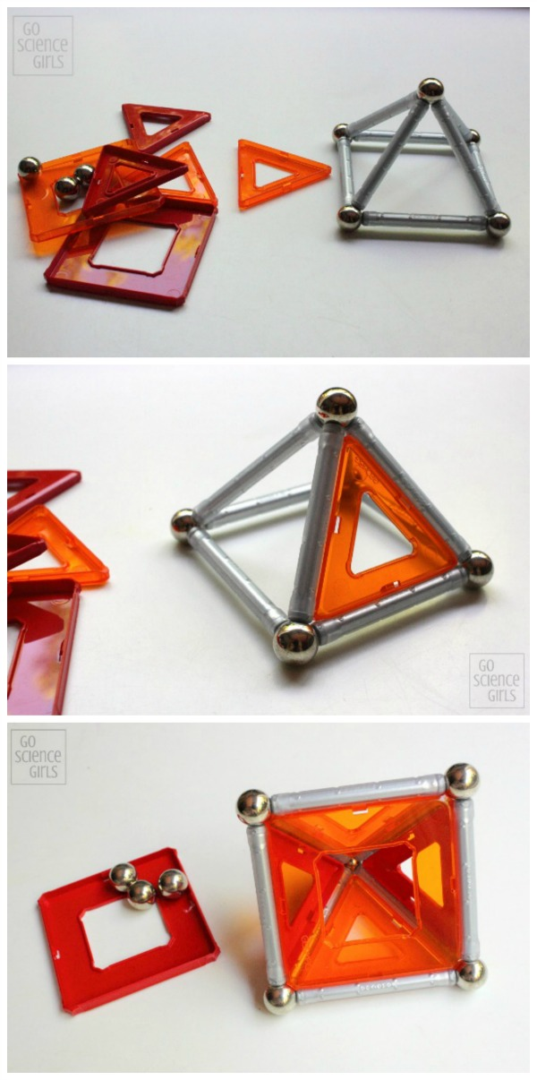 Creating a square triangular prism with Geomag Panels