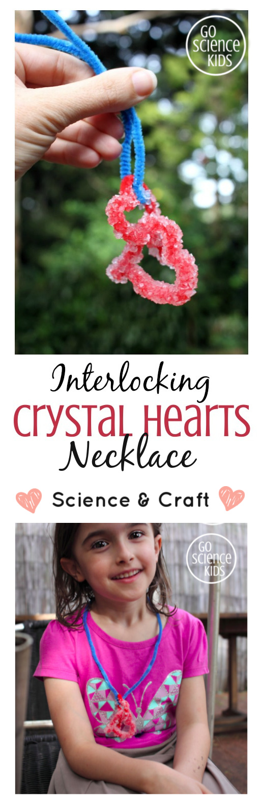 Interlocking crystal hearts - science and craft STEM or STEAM project for kids