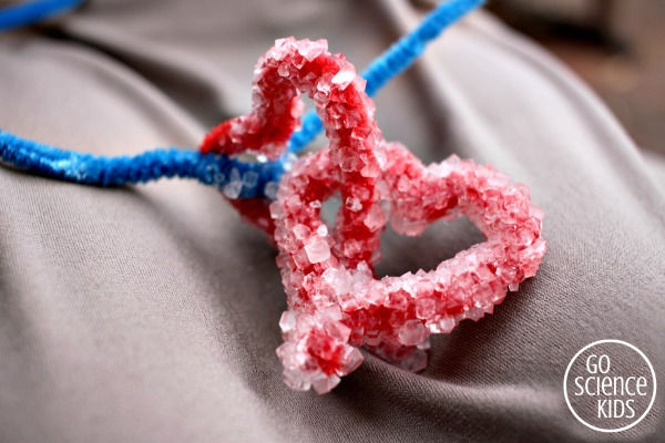 Two borax crystal hearts interlocked