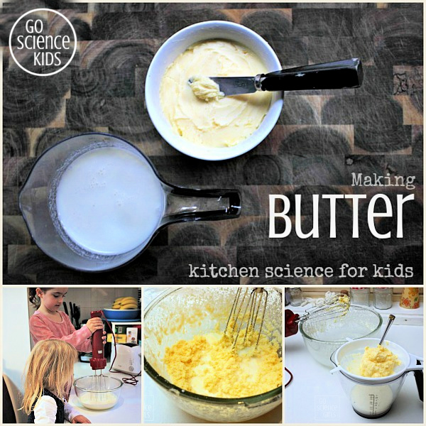 Making homemade butter and buttermilk from cream - kitchen science for kids