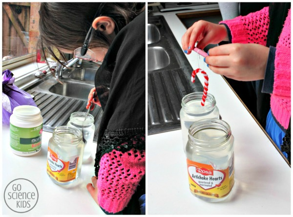 making Borax crystal candy canes
