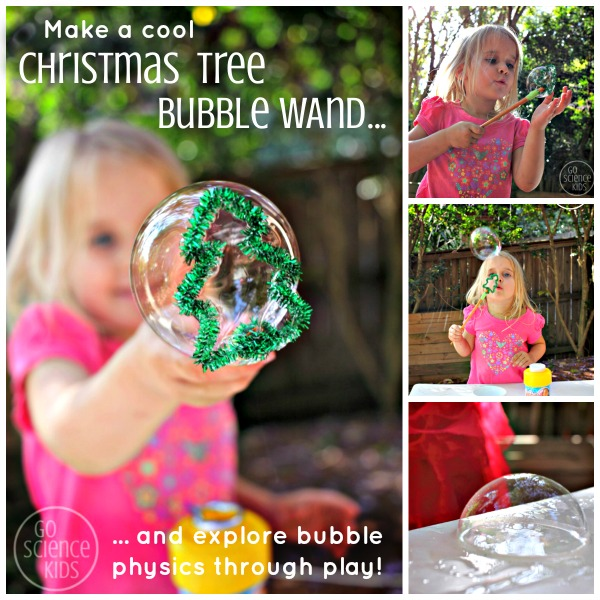 Make a cool Christmas Tree Bubble Wand and explore bubble physics through play