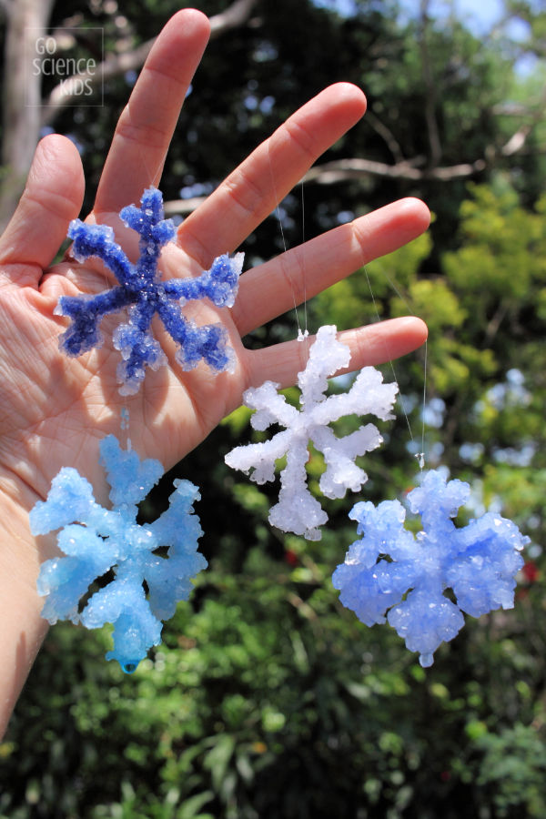 Frozen Crafts, Activities, Workbooks, Worksheets featured by top US Disney blogger, Marcie and the Mouse: Four crystal snowflakes in the sunshine