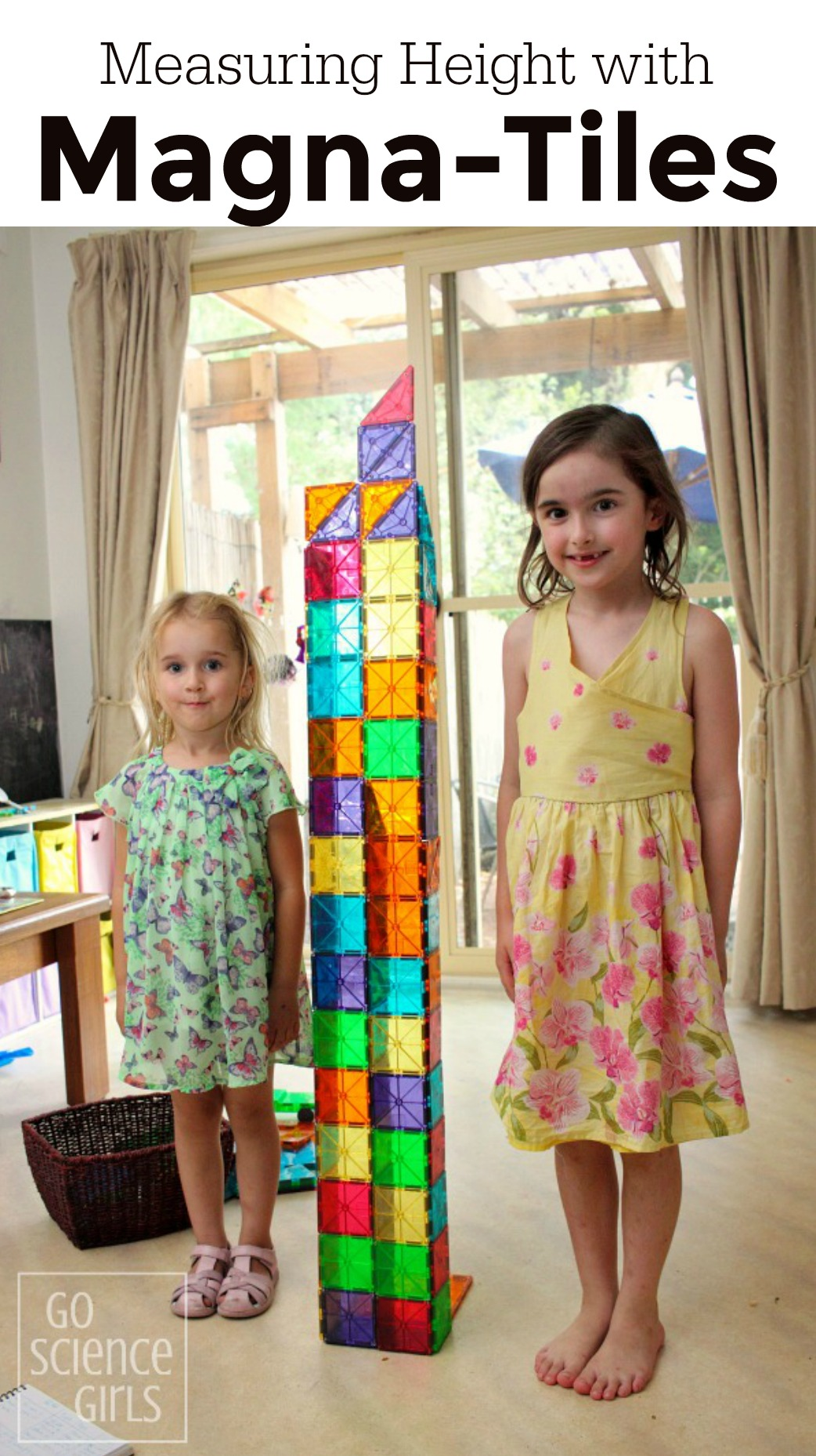 Measuring the height of kids with a Magna-Tiles tower is a fun way to practise math at home.