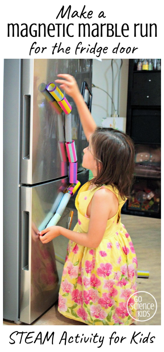 Make a magnetic marble run for the fridge door - STEAM activity for kids