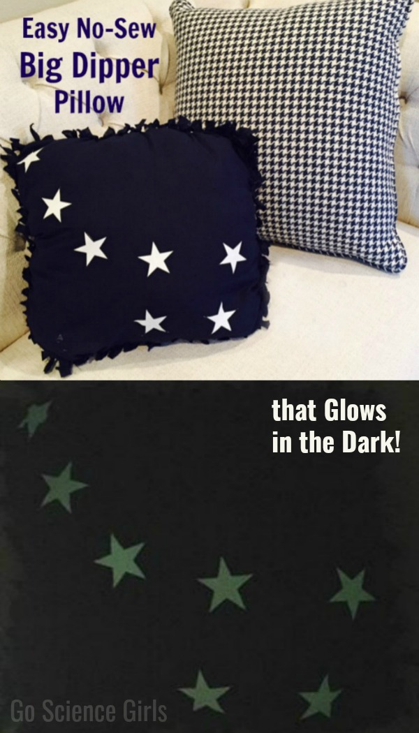 Easy No-Sew Big Dipper Pillow, that glows in the dark! Fun science craft for kids that teaches about space, stars and constellations.