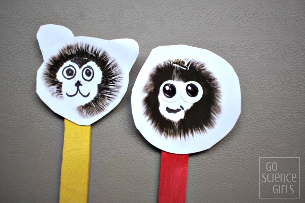 Make mushroom monkeys from mushroom spore prints! Fun science craft for kids