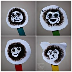 Mushroom spore print monkey puppets! Fun science craft for kids!