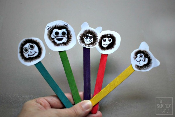 Mushroom spore print monkeys - science craft for kids