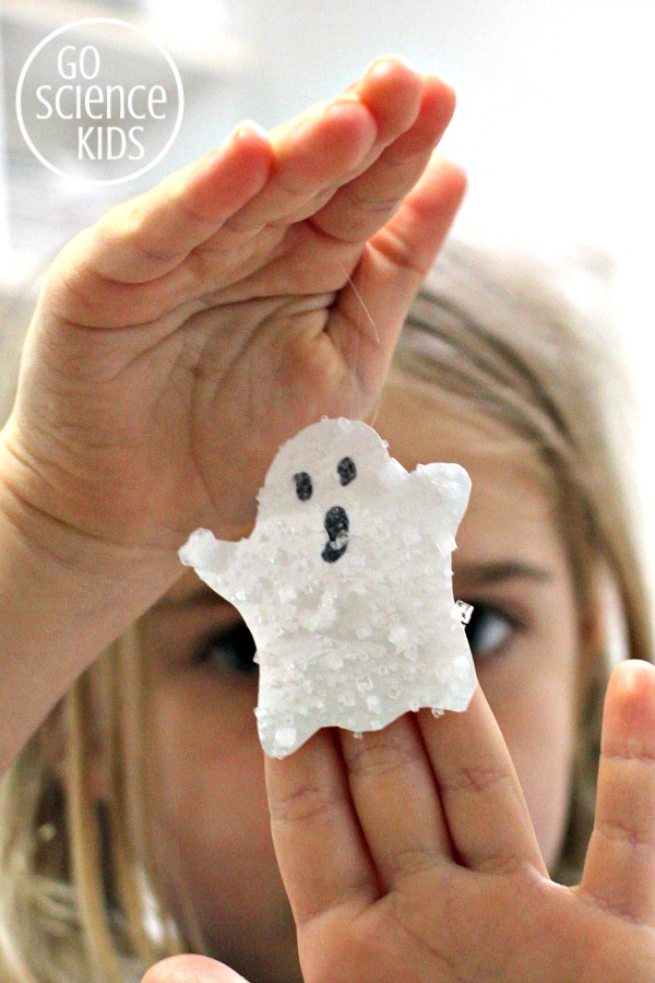 Halloween science craft - salt crystal ghost decorations