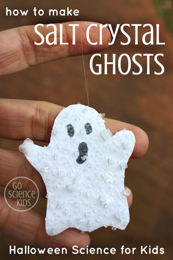 how to make Salt Crystal Ghosts - fun Halloween science project for kids