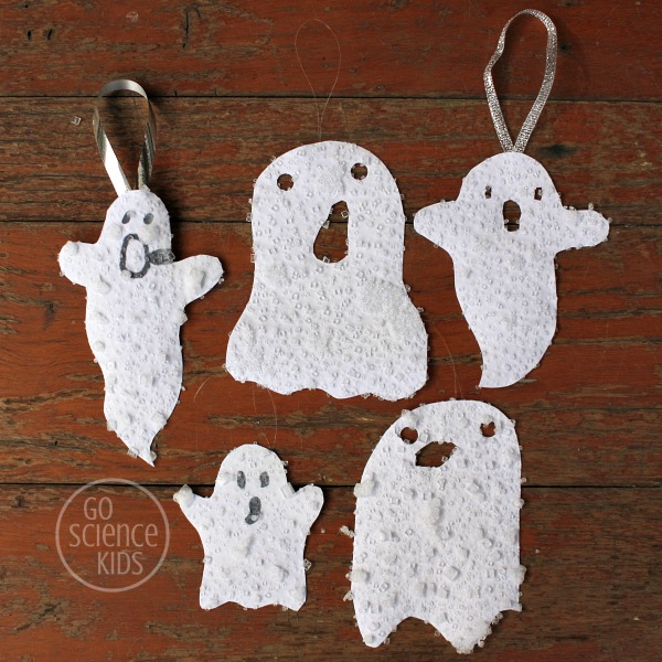 salt crystal ghosts - halloween science project
