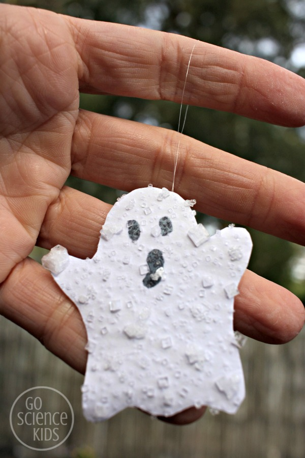salt crystal ghosts - science craft project for kids