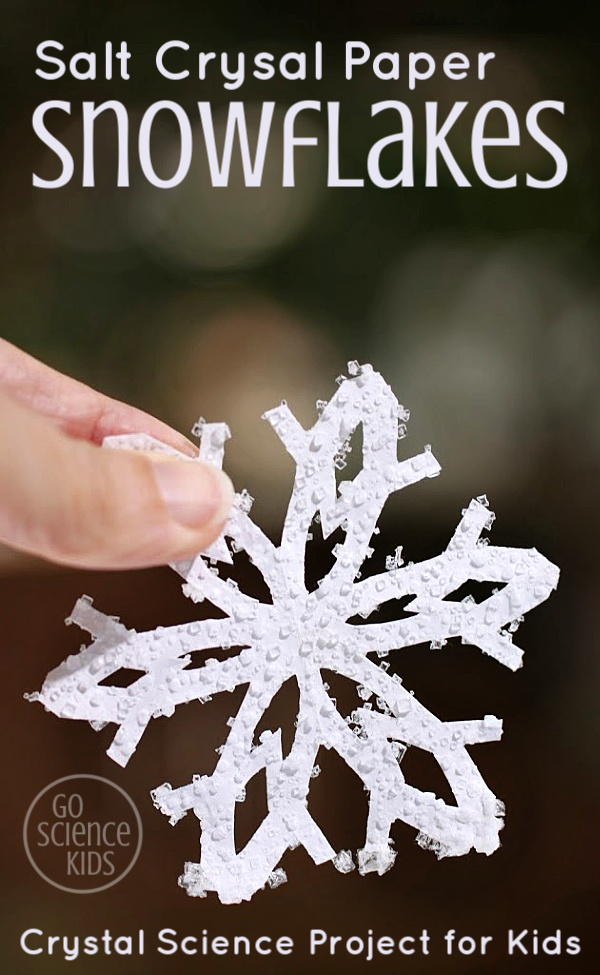 Salt Crystal Paper Snowflakes - crystal science project for kids