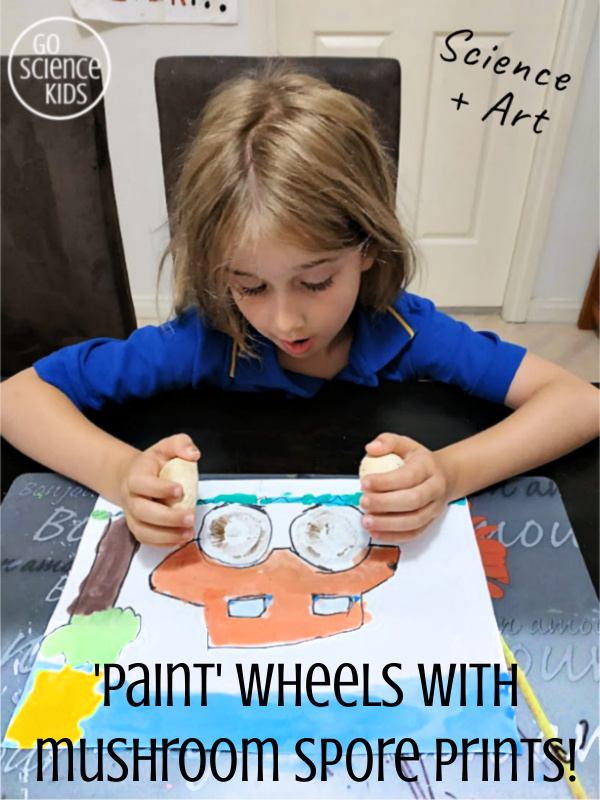 Science + Art - paint wheels with mushroom spore prints