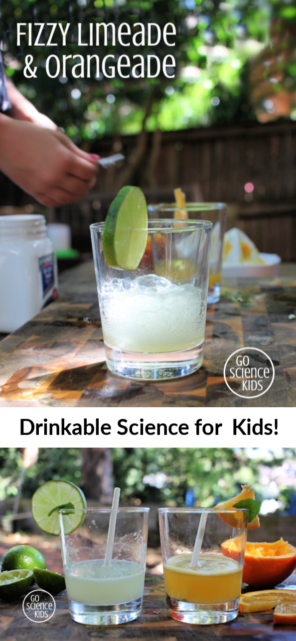 Fizzy limeade and orangeade science for kids