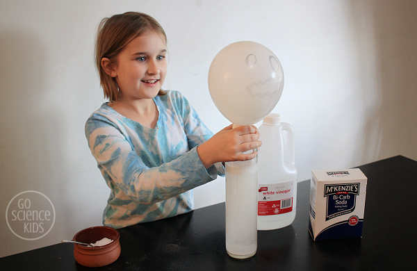 Blowing up a balloon ghost using an acid-base chemical reaction