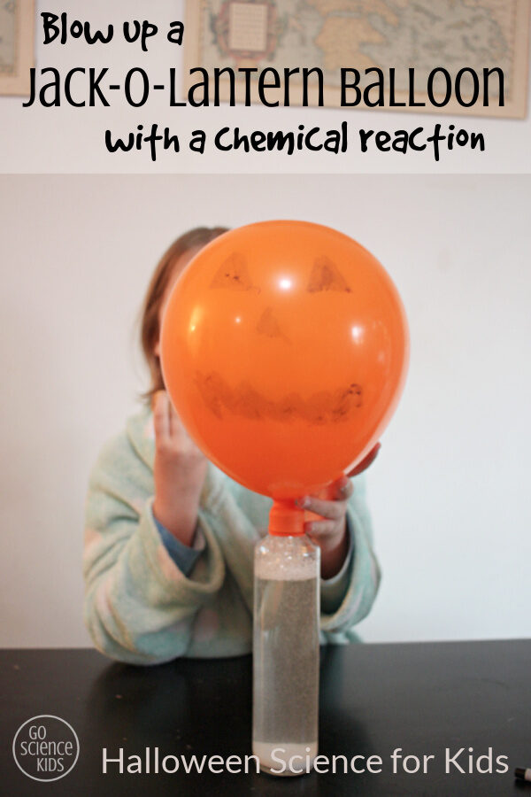 Blow up a jack-o-lantern balloon with a chemical reaction