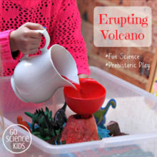 Make an erupting volcano for prehistoric small world play