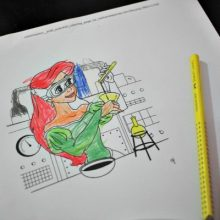 Ariel as a Scientist colouring in page